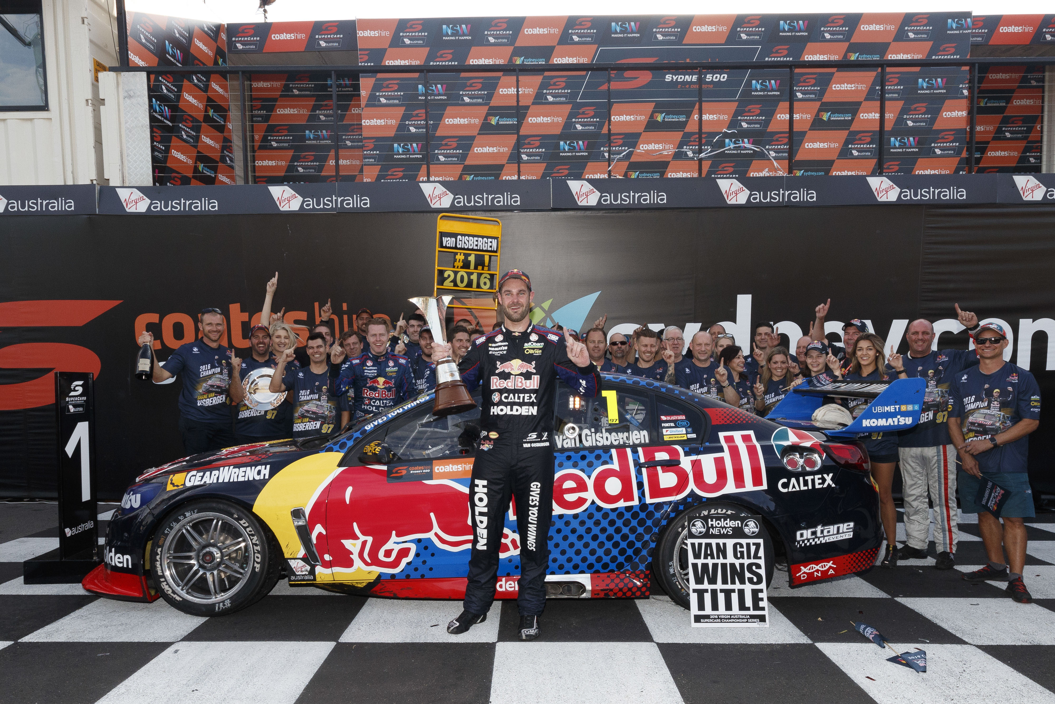 Shane Van Gisbergen of Red Bull Racing Australia wins the 2016 Supercars Championship during the Coates Hire Sydney 500,  at the Homebush Street Circuit, Sydney, New South Wales, December 04, 2016.